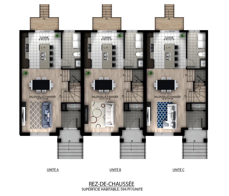 Plan de maison jumele place de la gare boisfranc phase - Plan de maison jumelee ...